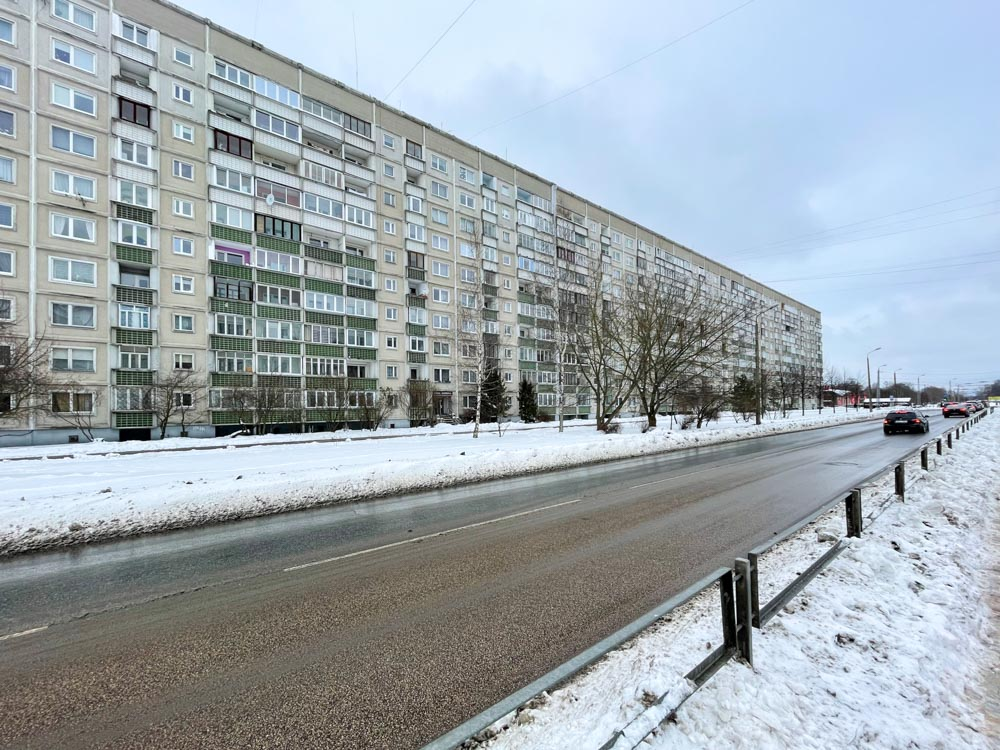 Long apartment building in Ziepniekkalns