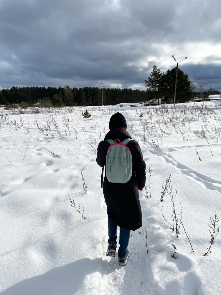 Starting a walk from Ziepniekkalns to Tiraine