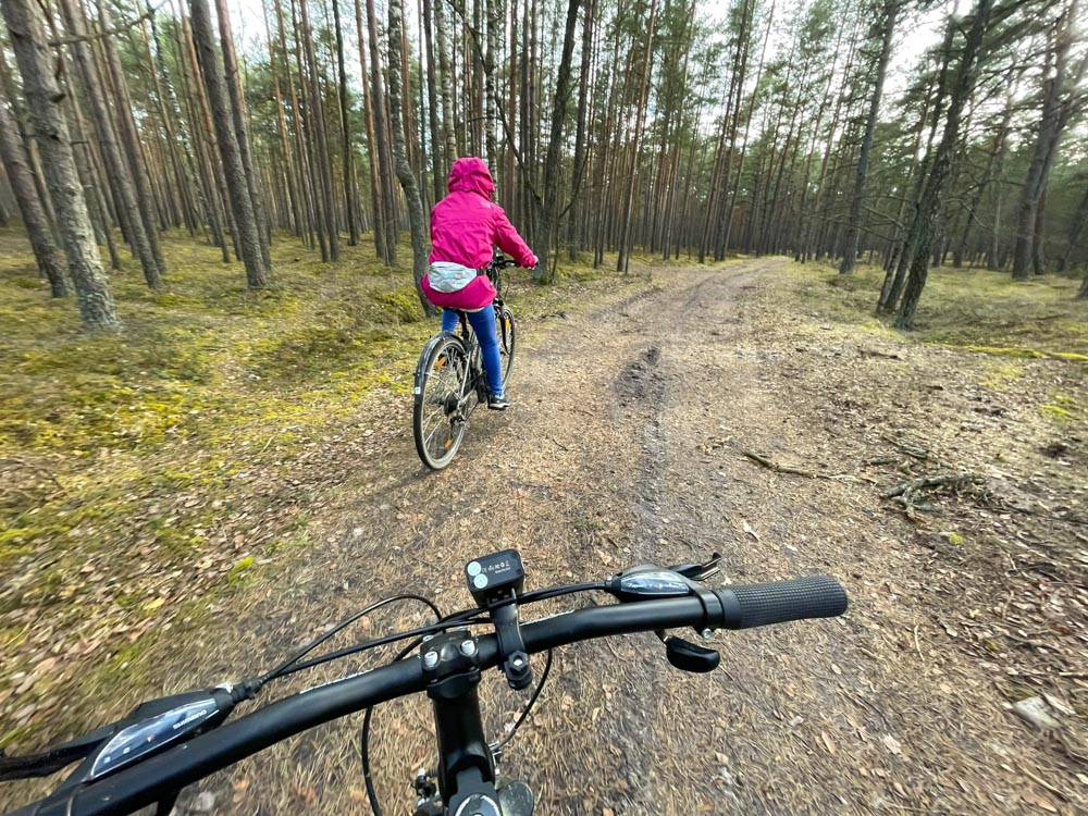Cycling in the forest near Varnukrogs
