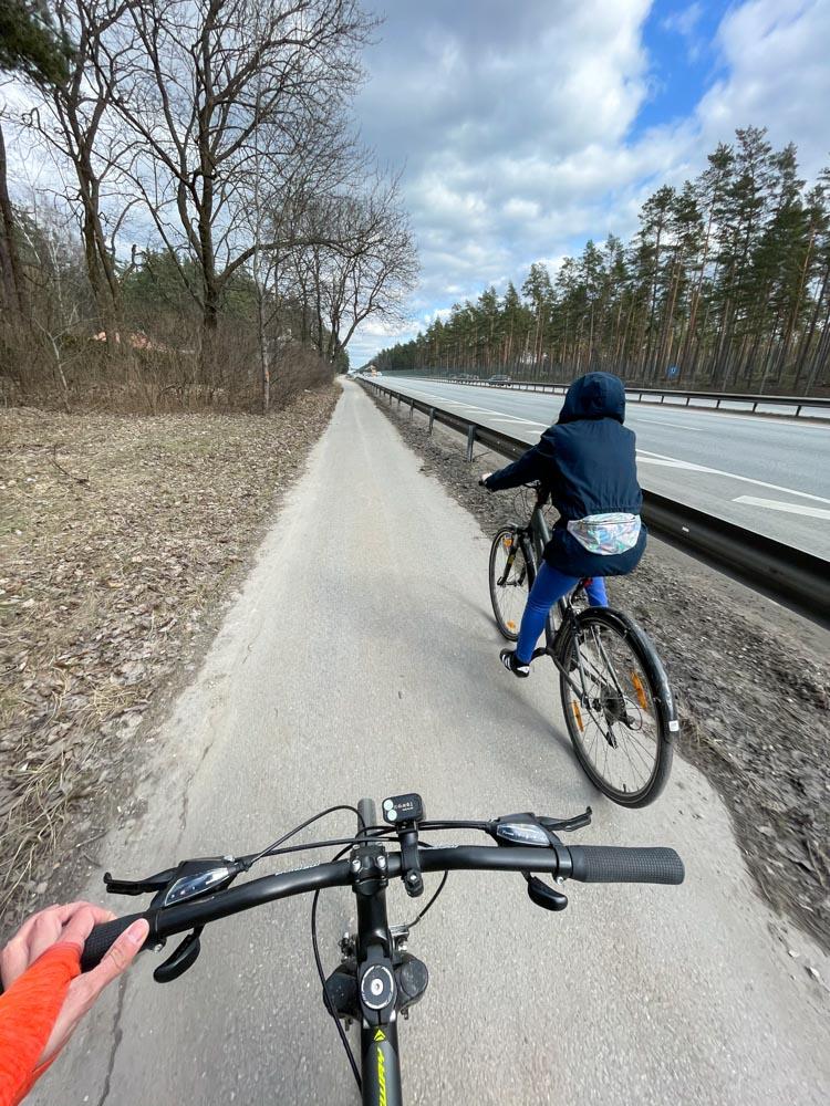 Cycling on Bergi - Adazi bike path