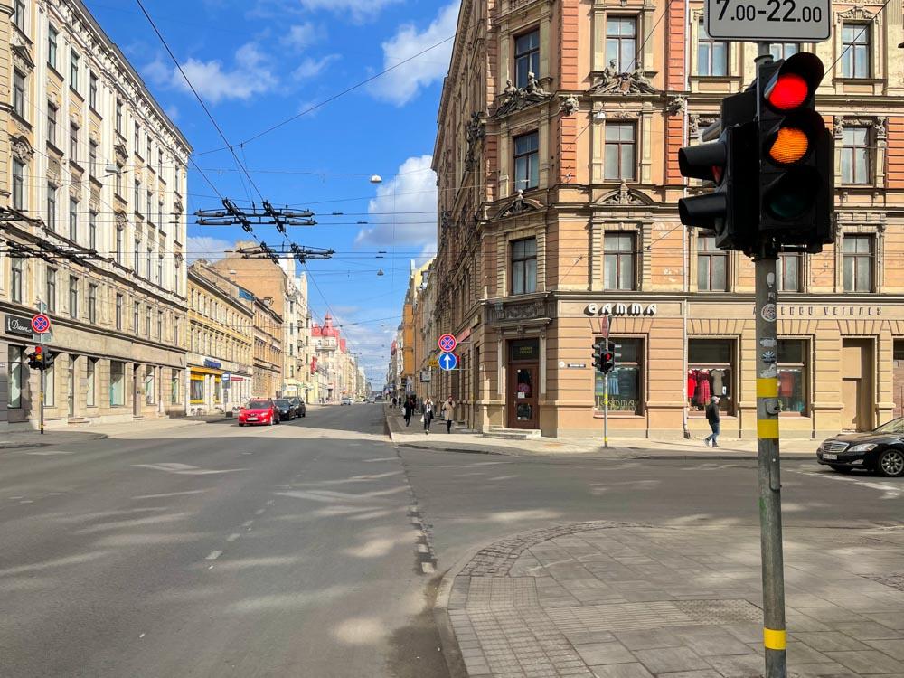 Cycling on Caka street in Riga