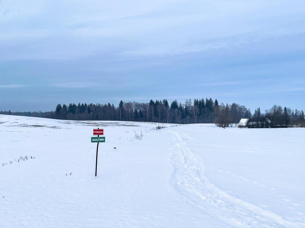Snowy fields near Sigulda