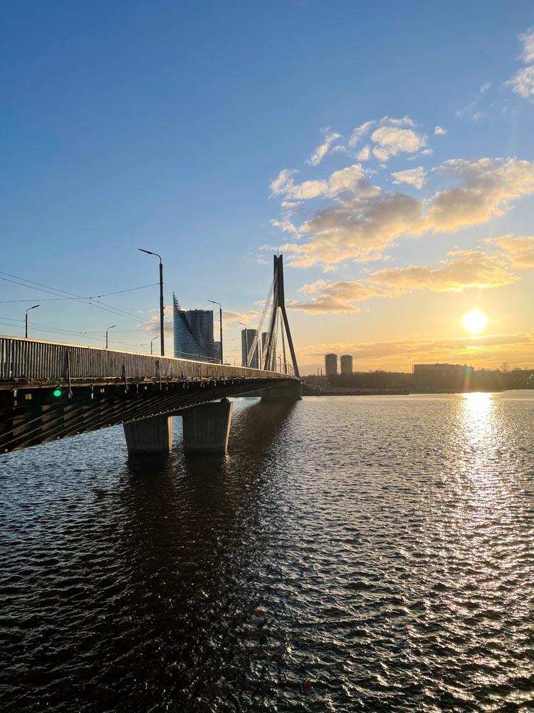 Sun is setting in Riga