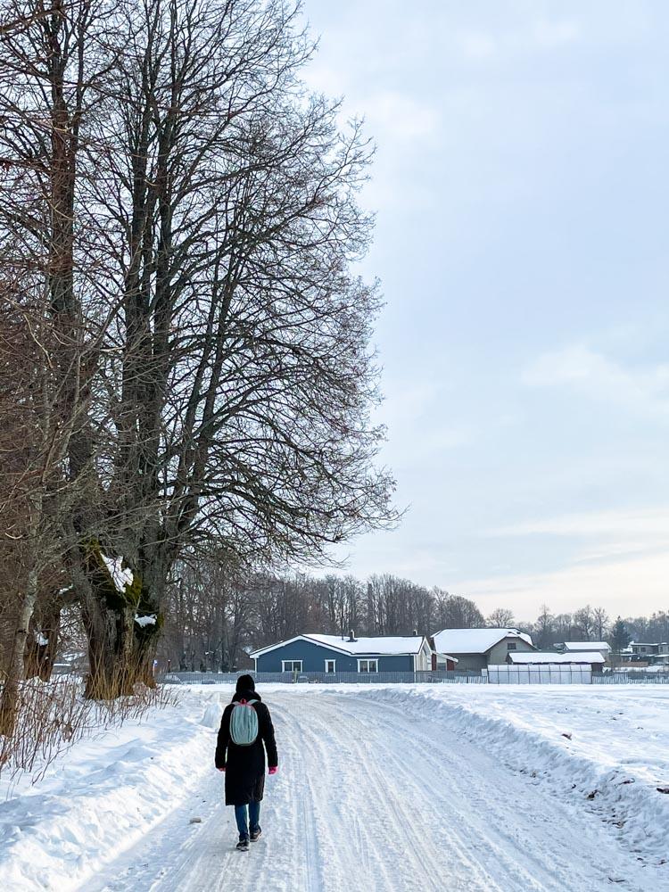 Walking on a rural road near Sigulda