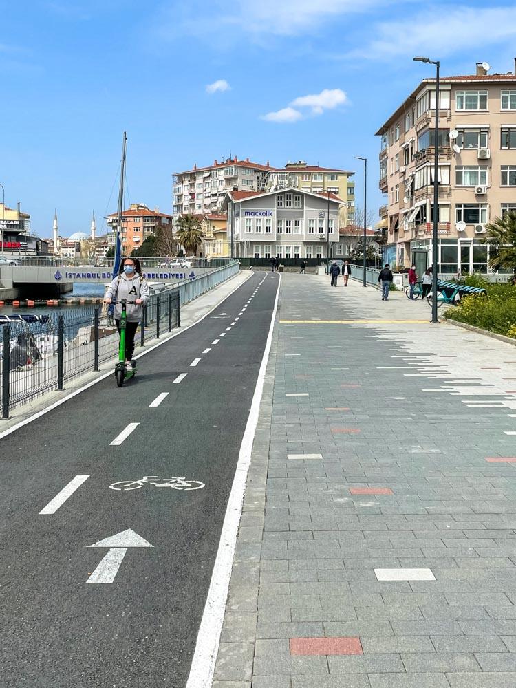 Beautiful bike paths on Asian side of Istanbul