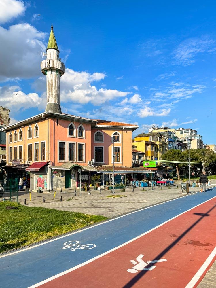 Bike path near historical buildings