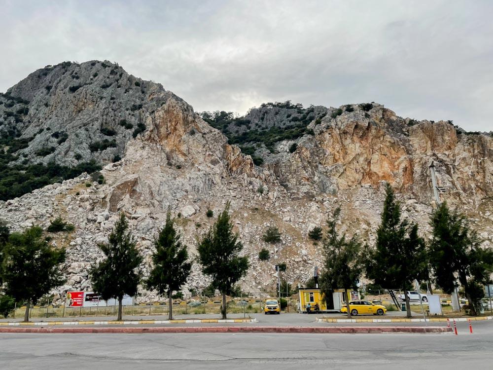 Bus stop near the mountain