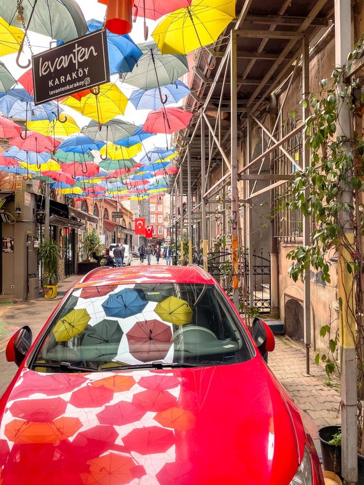 Istanbul Umbrella Street in April