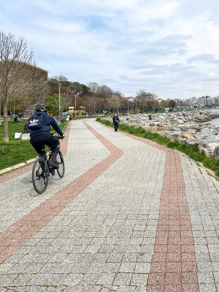 Riding a bicycle on Asian side of Istanbul