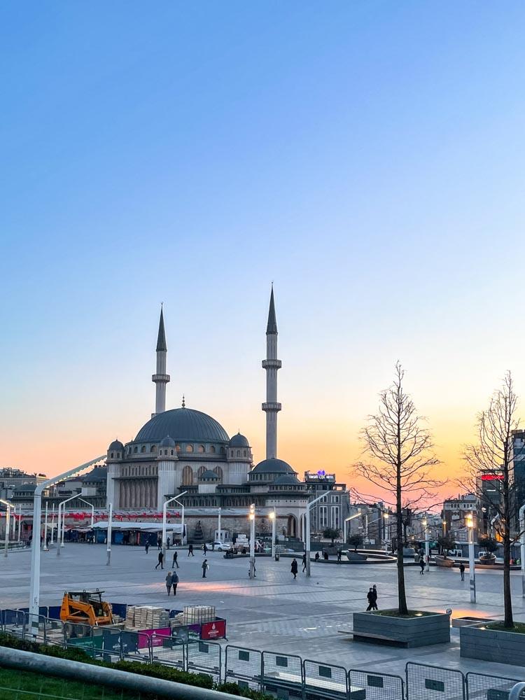 Taksim square at sunset