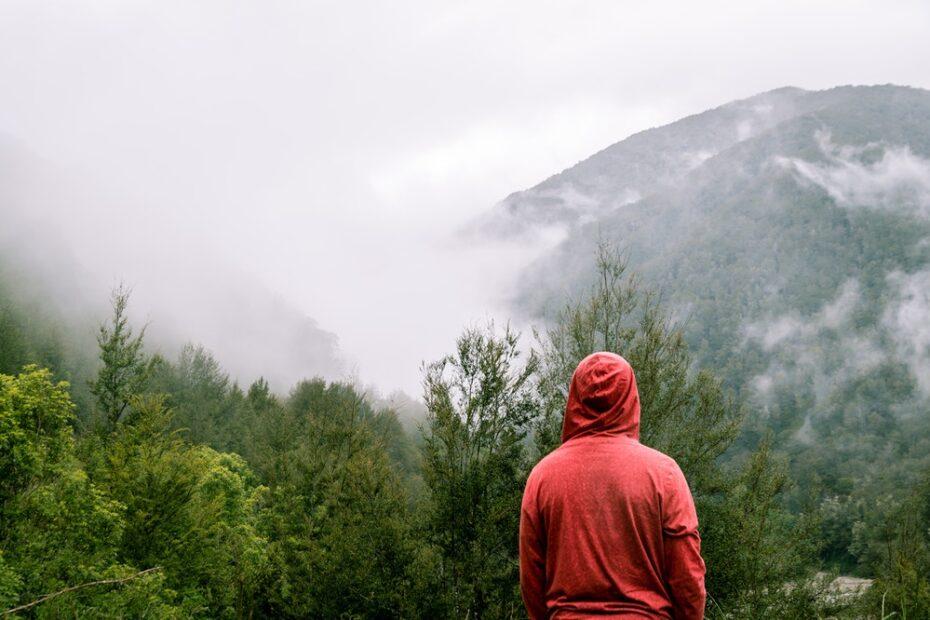 Man wearing a red hoodie