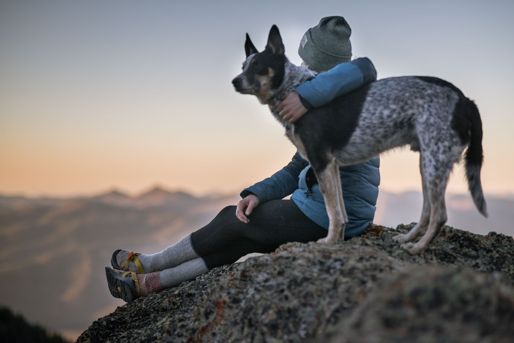 Woman hiking in the mountains with her dog