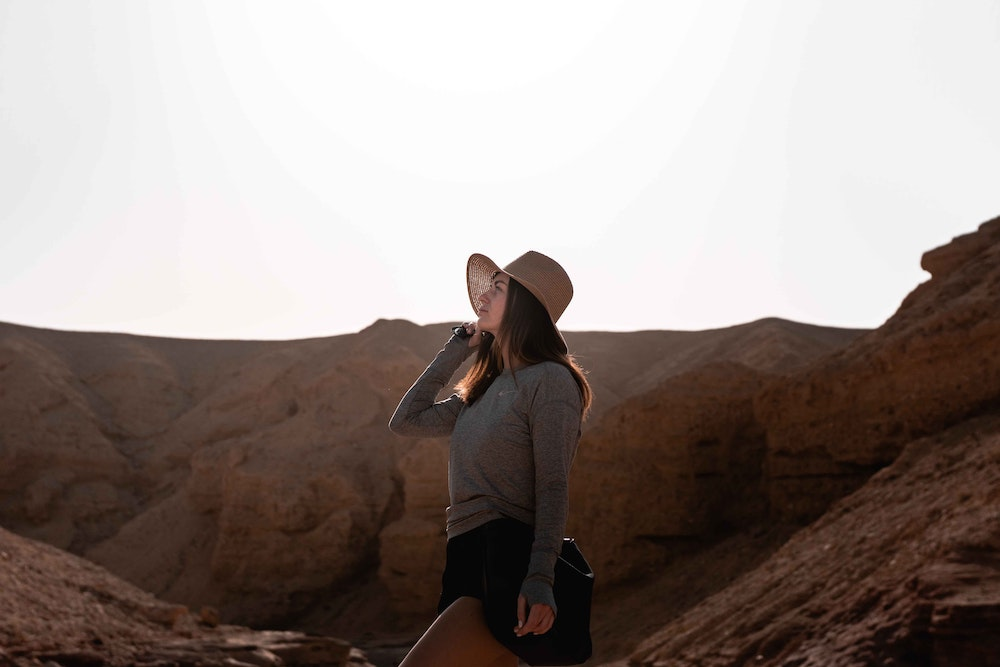 Woman wearing merino wool long sleeve t-shirt