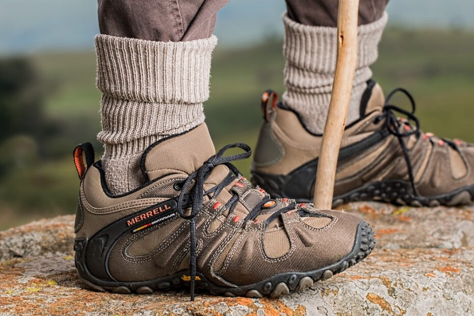A man wearing hiking boots and hiking socks