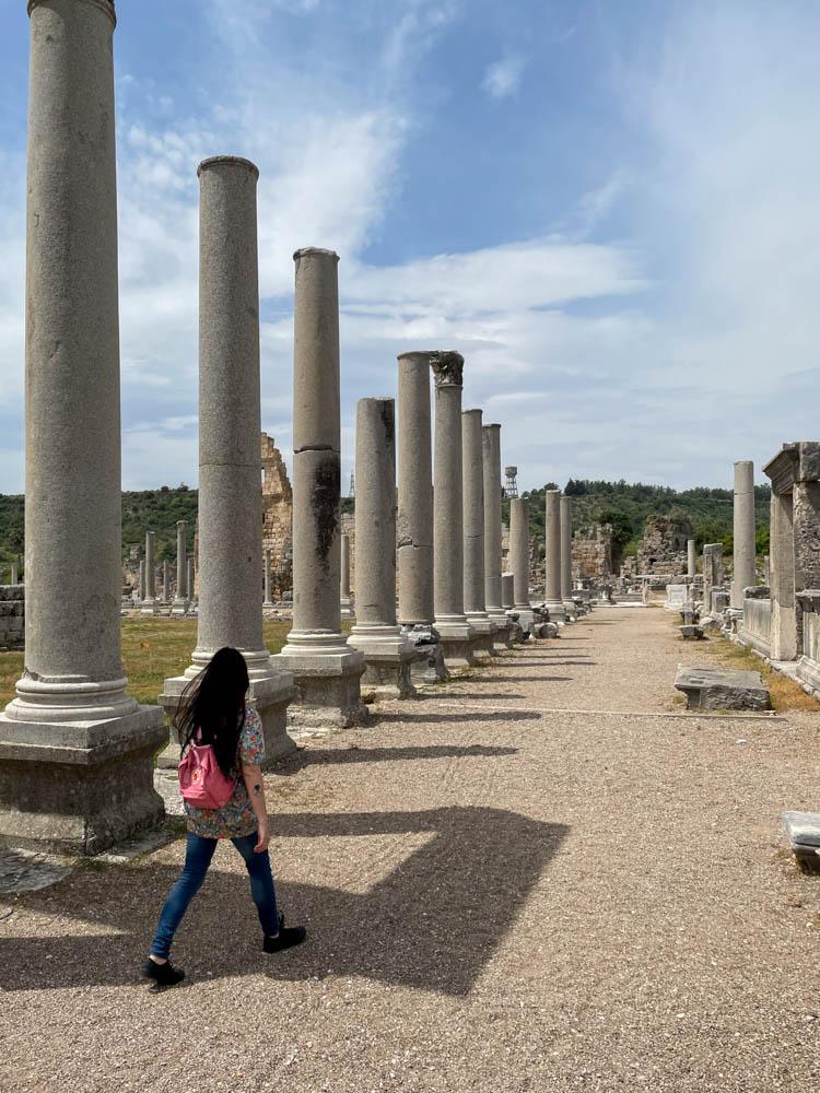 Walking next to columns in Perge