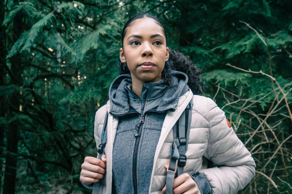 Woman wearing hiking clothing